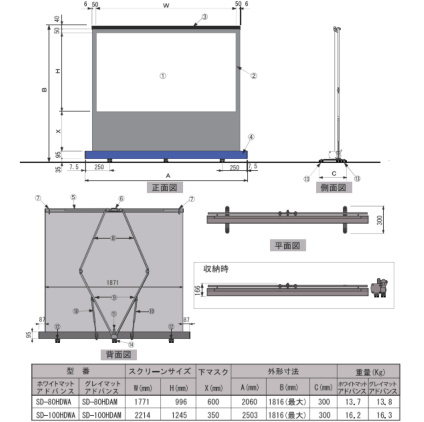 KIKUCHI 100インチロールアップワイドスクリーン(SD-100HDWA/K)