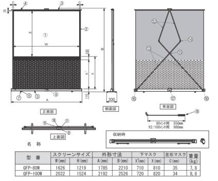 KIKUCHI 80インチロールアップスクリーン(GFP-80W)