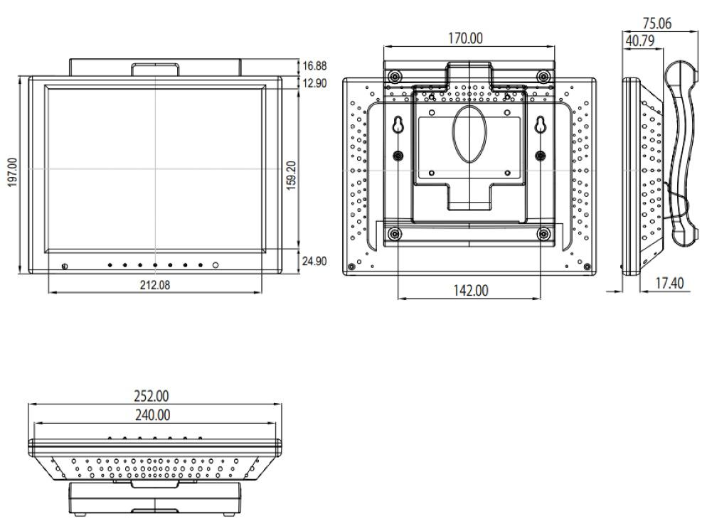 Quixun 10.4インチ液晶モニター(QT-1005P-AVG)