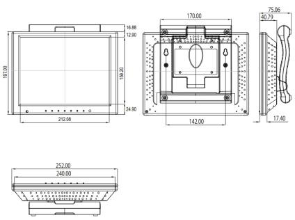 Quixun 10.4インチ液晶モニター(QT-1004P-AVG)
