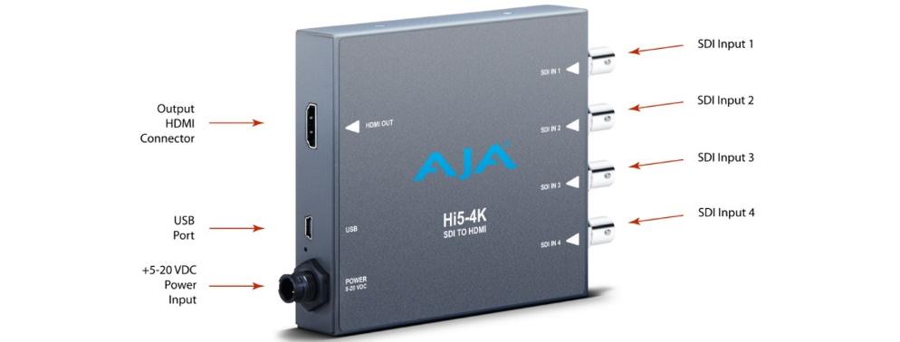 AJA クアッドSDI to HDMI2.0コンバーター(Hi5-4K-Plus)