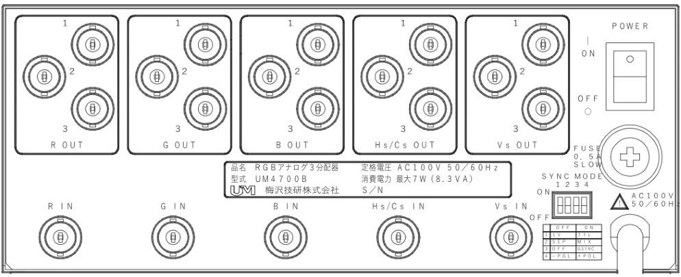 梅沢技研 RGB映像分配器(UM4700B)