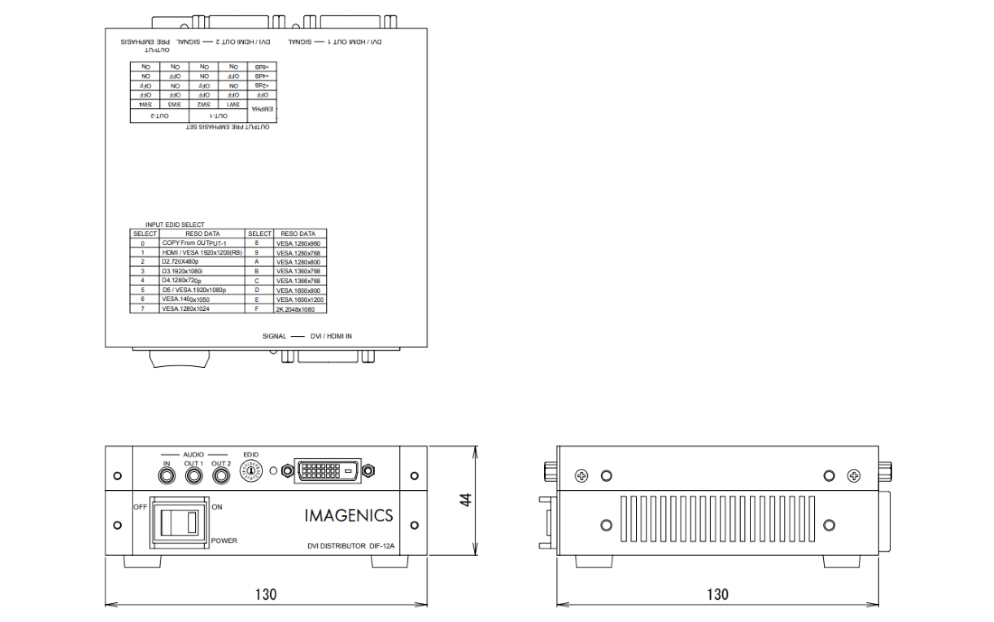 IMAGENICS DVI分配器(DIF-12A)