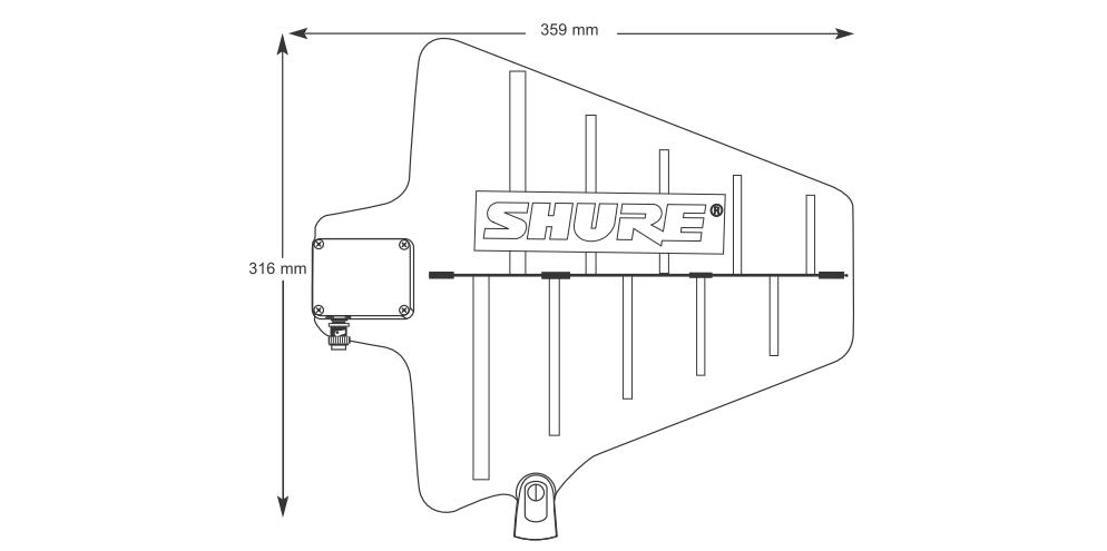 SHURE B帯アクティブ指向性アンテナ(UA874WB)*2個1組