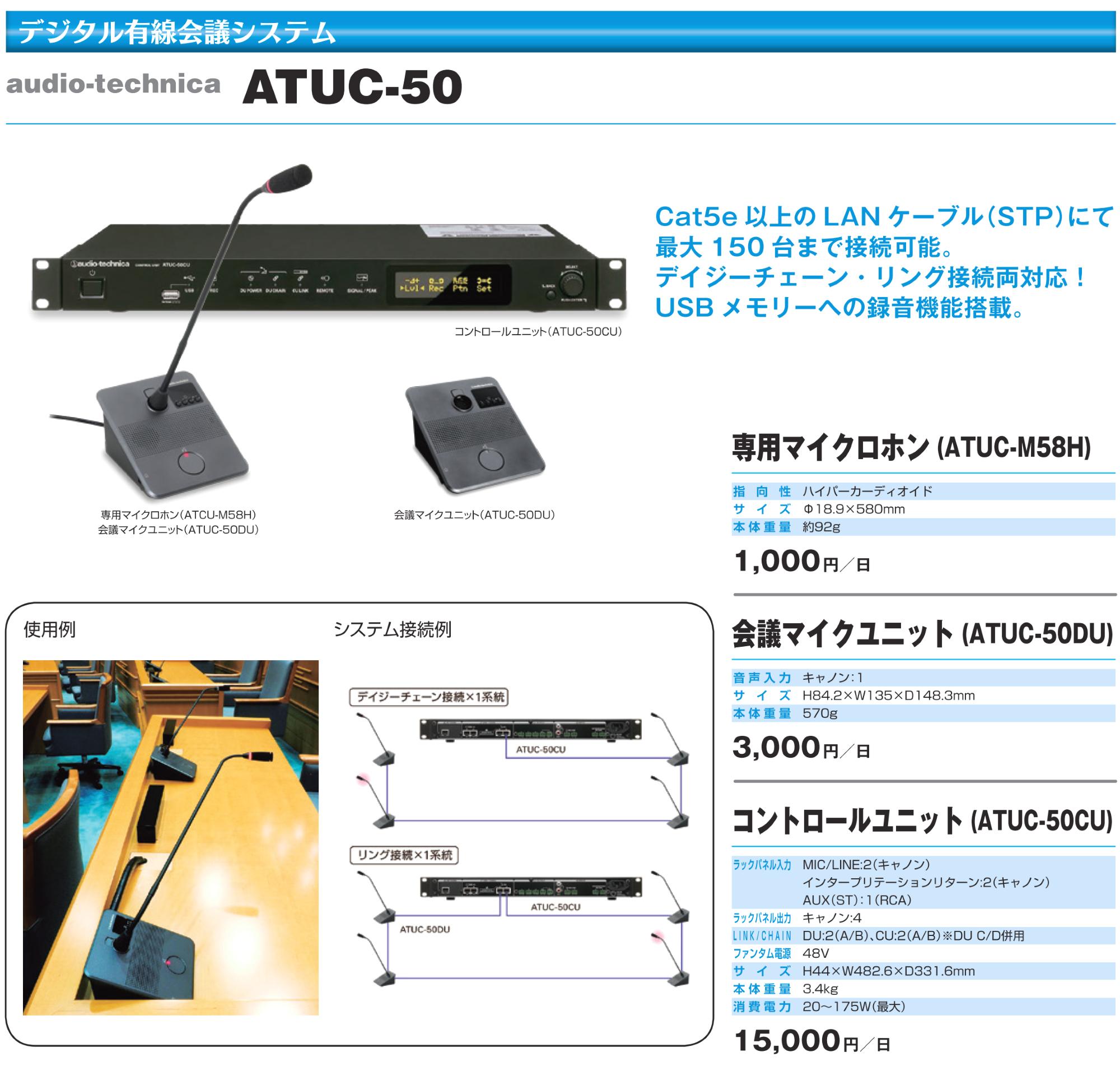 オーディオテクニカ 有線会議システム 専用マイクロフォン(ATUC-M58H)